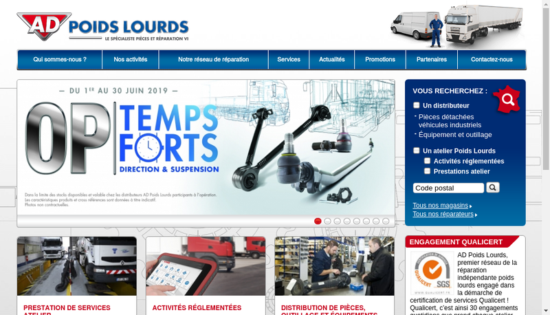 Capture d'écran du site de Autodistribution Poids-Lourds