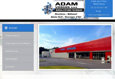 Capture d'écran du site de Adam Vosges
