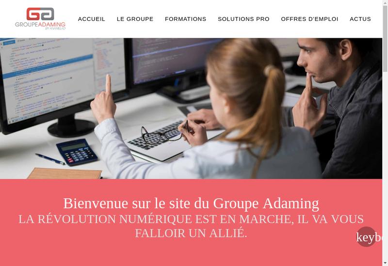 Capture d'écran du site de Groupe Adaming