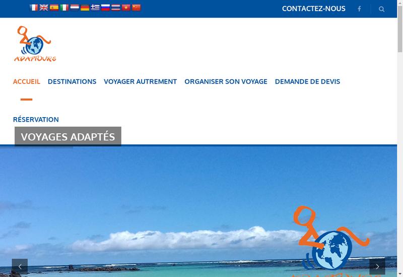 Capture d'écran du site de Adaptours