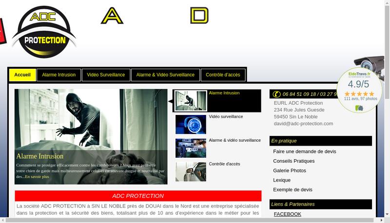 Capture d'écran du site de Adc Protection