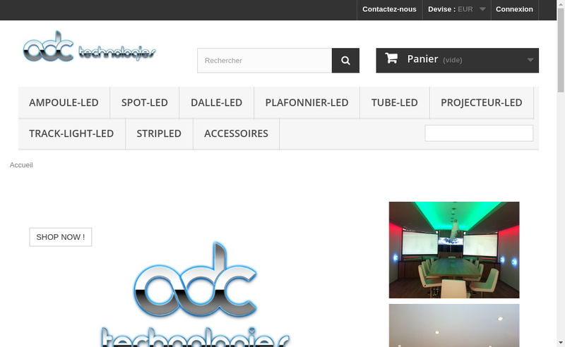 Capture d'écran du site de Adc Technologies