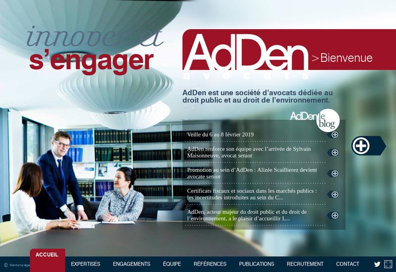 Capture d'écran du site de Adden Avocats