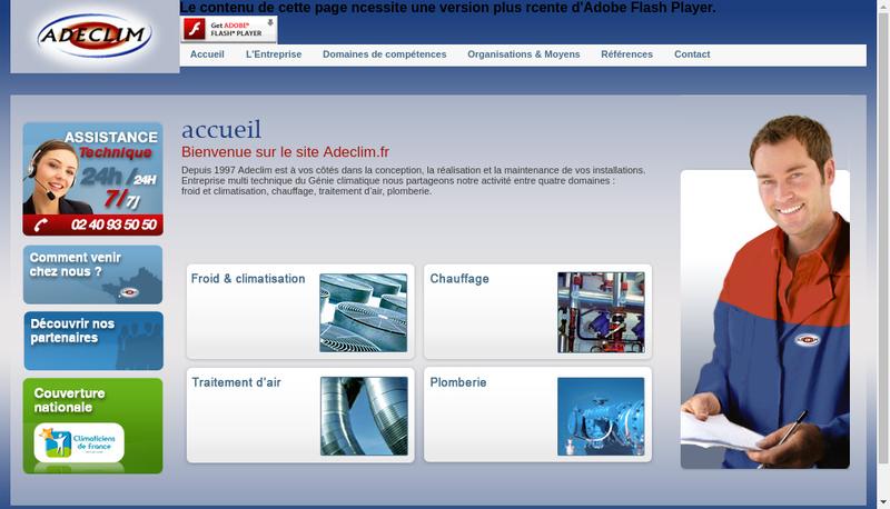 Capture d'écran du site de Adeclim SAS