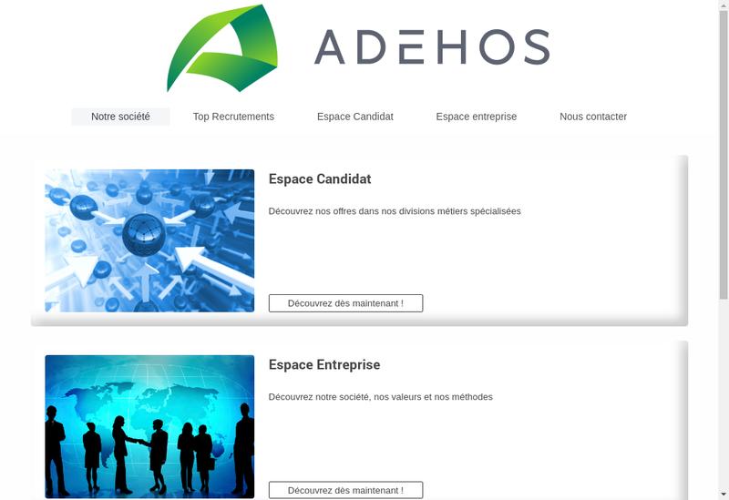 Capture d'écran du site de Adehos