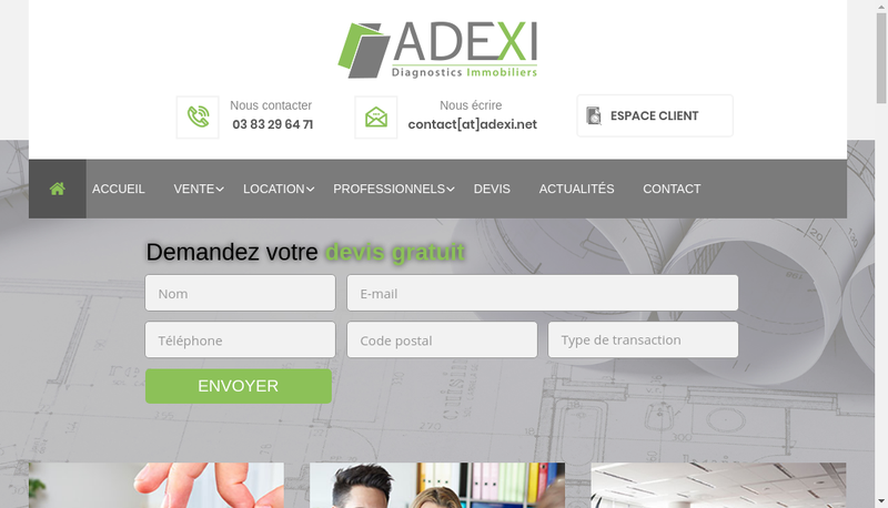 Capture d'écran du site de Adexi