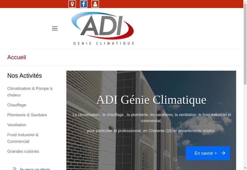 Capture d'écran du site de Adi Froid Adi Genie Climatique Adi