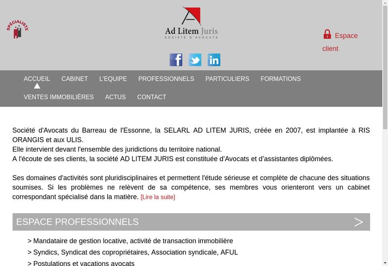 Capture d'écran du site de Ad Litem Juris
