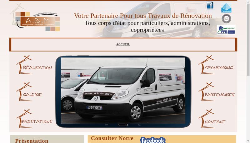 Capture d'écran du site de ADM