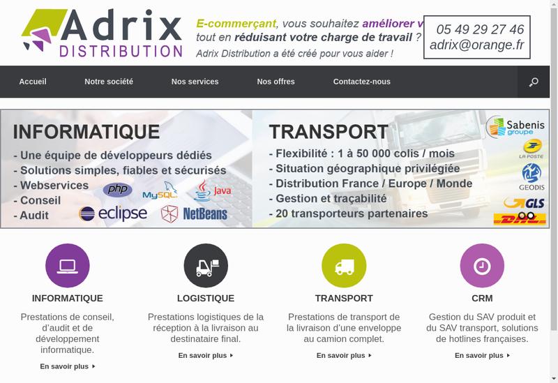 Capture d'écran du site de Adrix Distribution