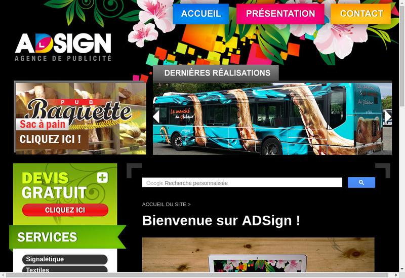 Capture d'écran du site de Adsign