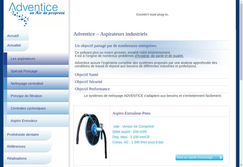 Capture d'écran du site de Adventice