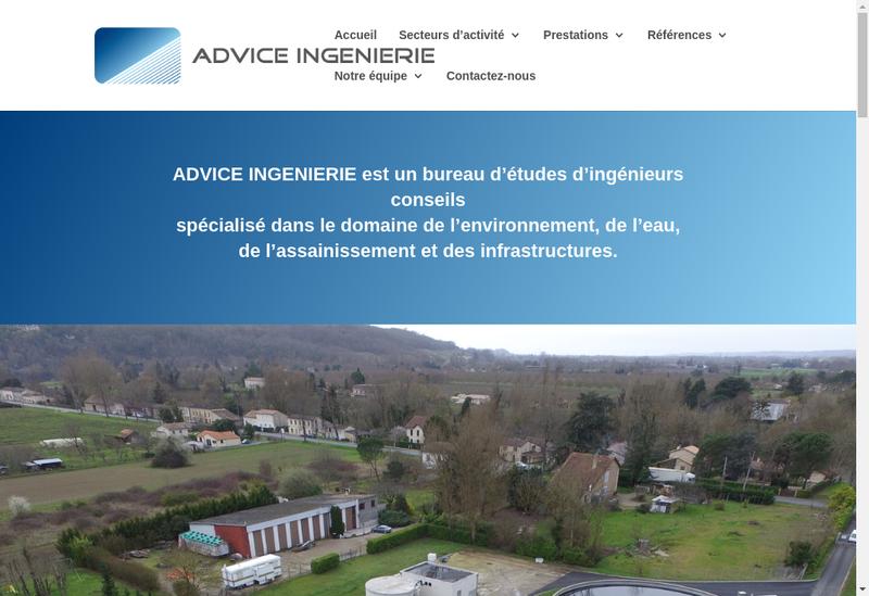 Capture d'écran du site de Advice Ingenierie