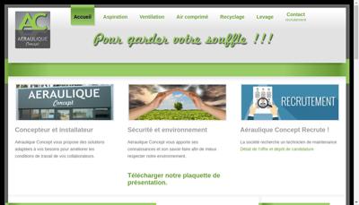 Capture d'écran du site de Aeraulique Concept