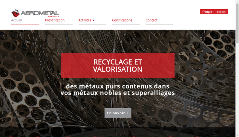 Capture d'écran du site de Aerometal
