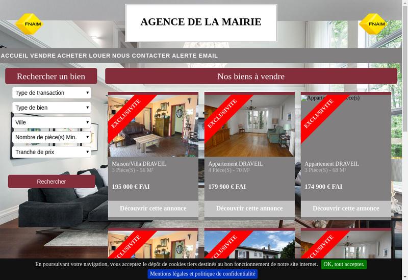 Capture d'écran du site de Agence de la Mairie