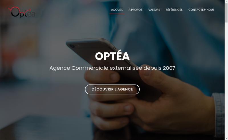 Capture d'écran du site de Optea