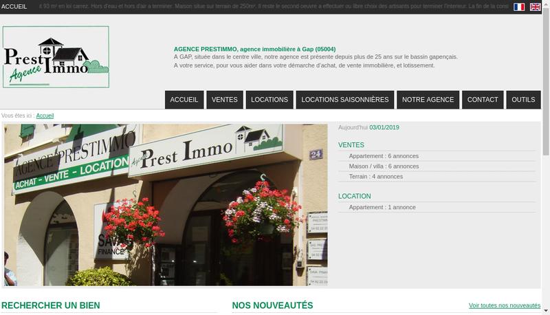 Capture d'écran du site de Prestimmo