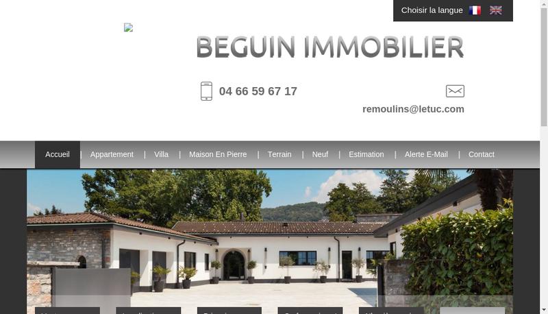 Capture d'écran du site de Beguin Immobilier