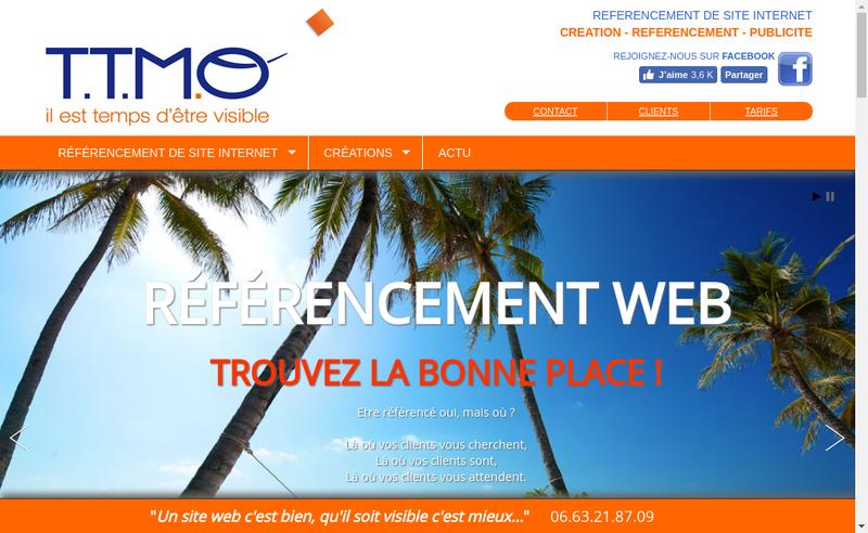 Capture d'écran du site de Agence Ttmo