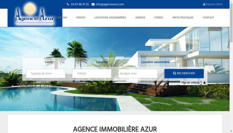 Capture d'écran du site de Agence Azur SARL