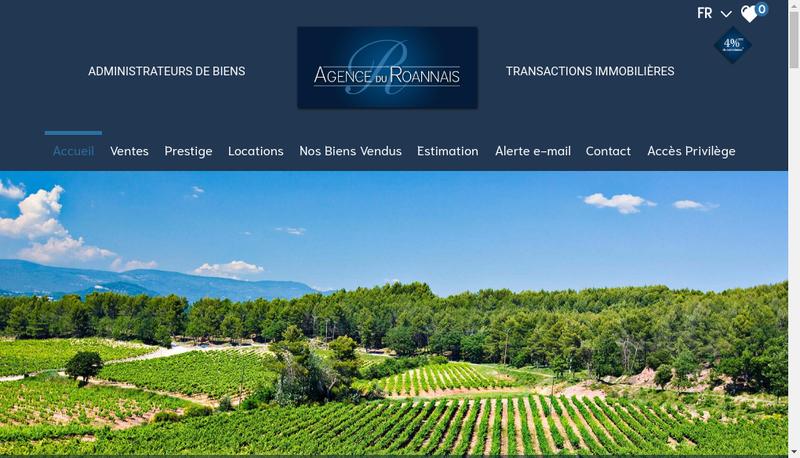 Capture d'écran du site de Agence du Roannais