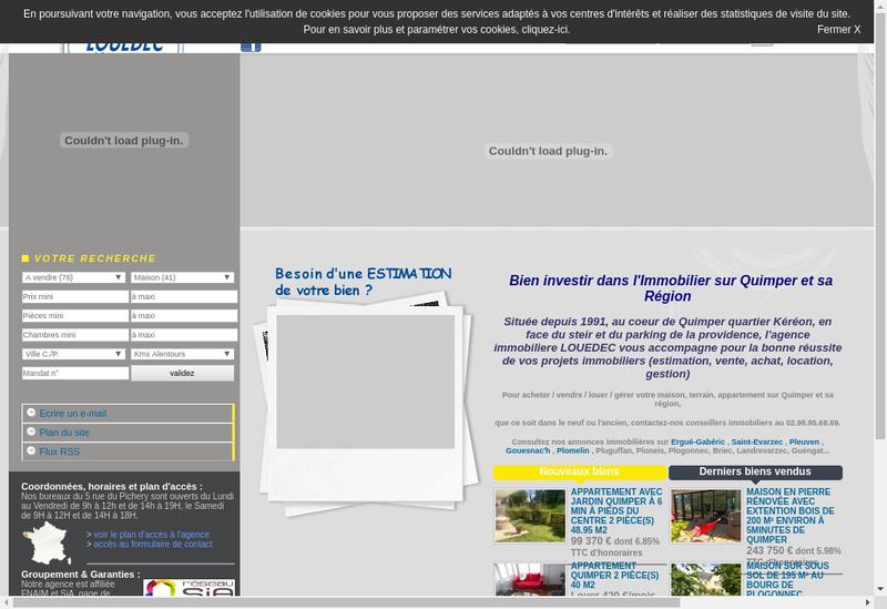 Capture d'écran du site de Agence Louedec