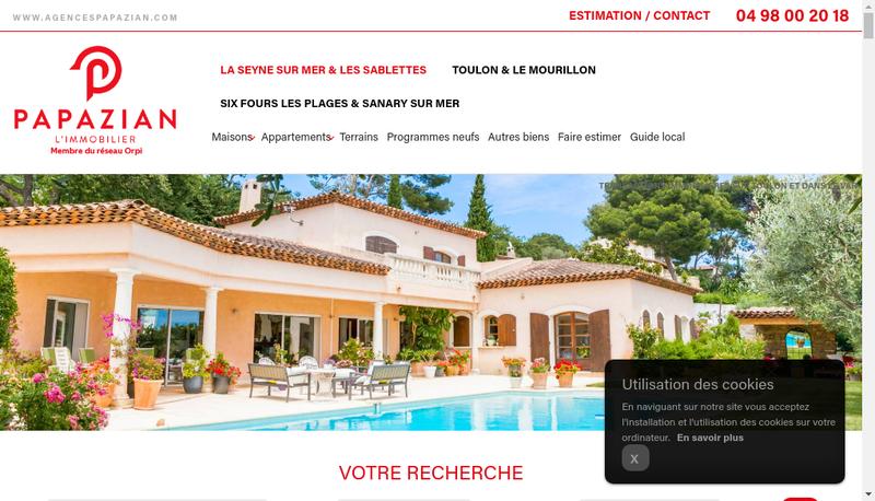 Capture d'écran du site de Agence Papazian
