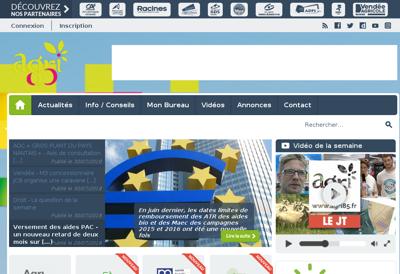 Capture d'écran du site de Agri Vendee