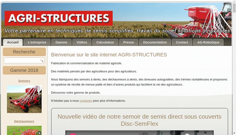 Capture d'écran du site de Agri Structures