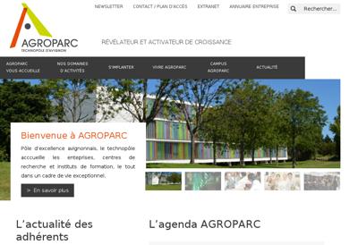 Capture d'écran du site de Agroparc