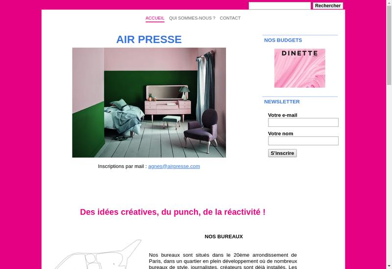 Capture d'écran du site de Air Presse
