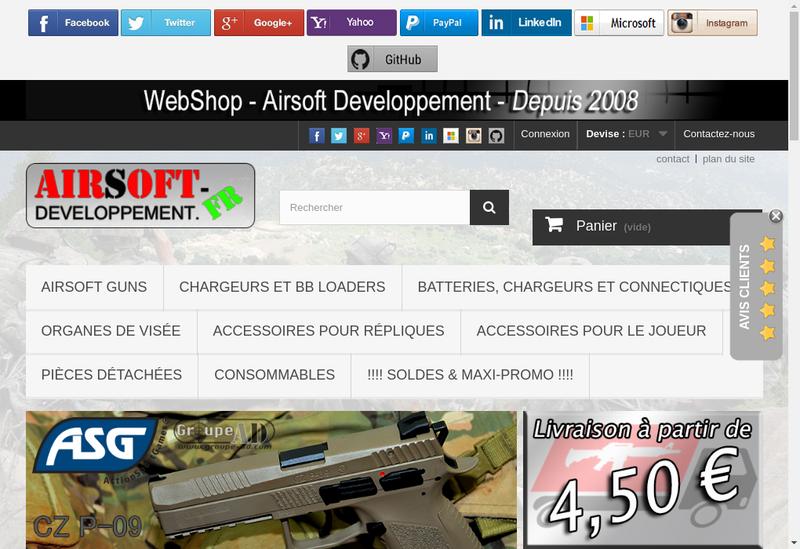 Capture d'écran du site de Airsoft Developpement