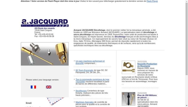Capture d'écran du site de Etablissements Armand Jacquard