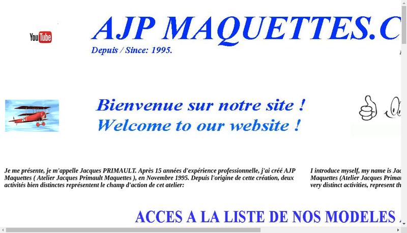 Capture d'écran du site de Ajp Maquettes