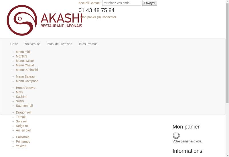 Capture d'écran du site de Akashi Sushi