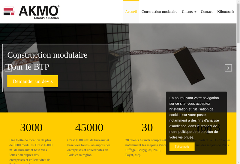 Capture d'écran du site de AKMO