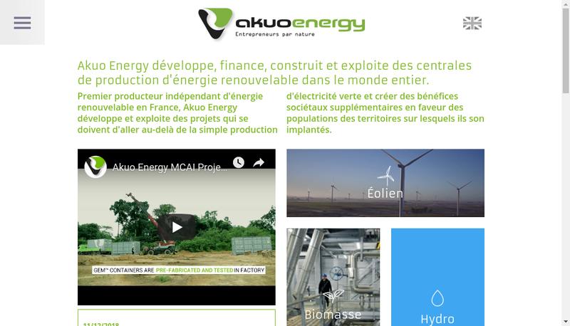 Capture d'écran du site de Akuo Energy Maintenance