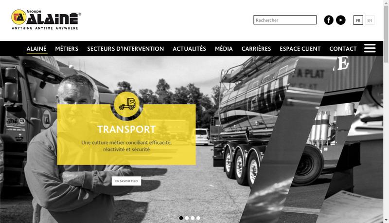 Capture d'écran du site de Logistique Alaine