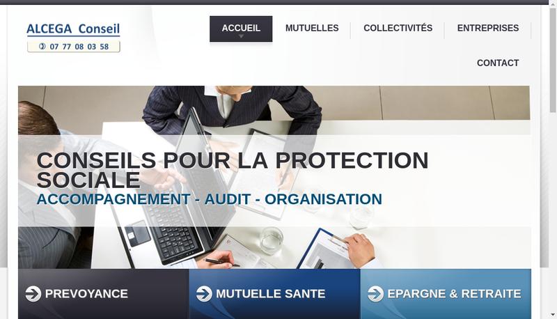 Capture d'écran du site de Alcega Conseil