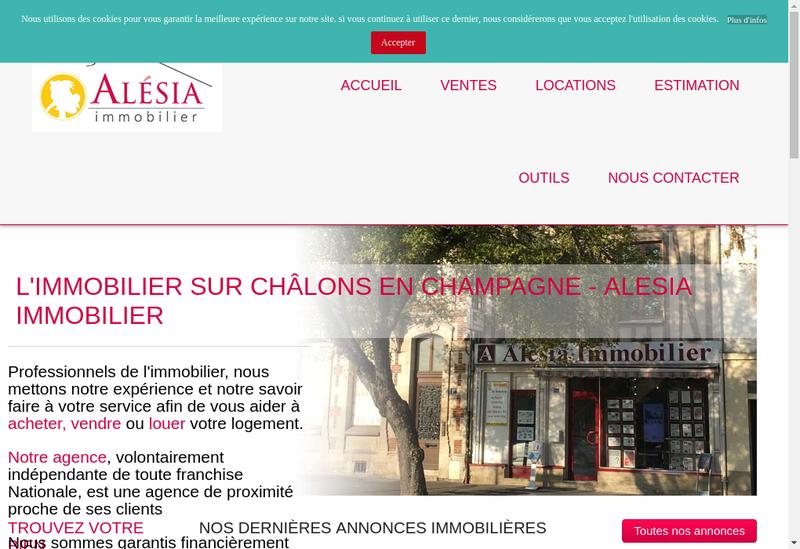 Capture d'écran du site de Alesia Immobilier