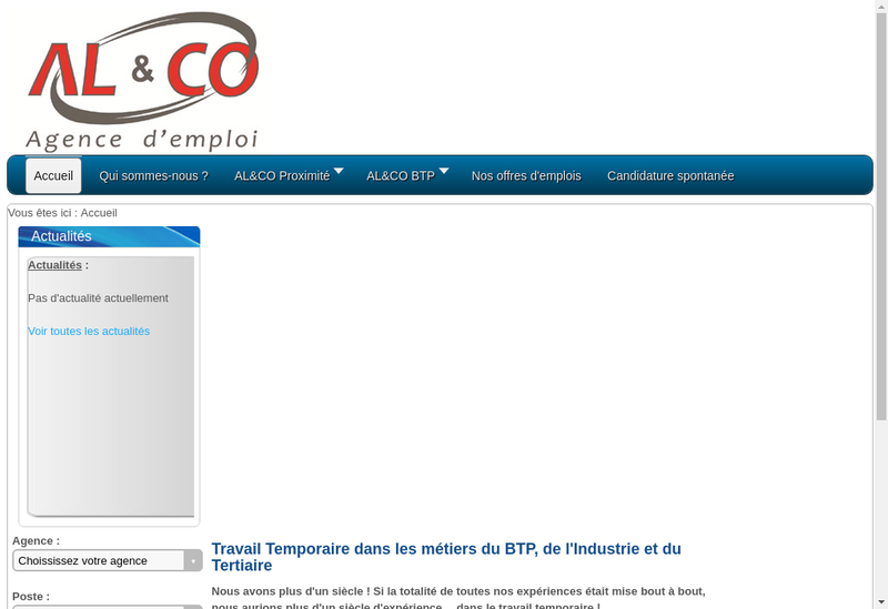 Capture d'écran du site de Al&Co