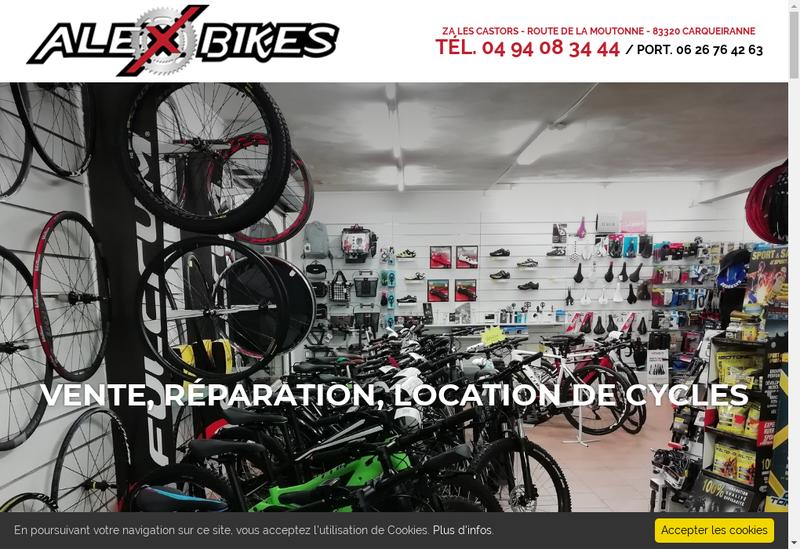 Capture d'écran du site de Alex Bikes