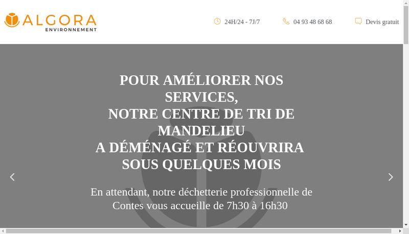 Capture d'écran du site de Algora