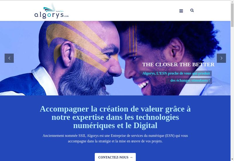 Capture d'écran du site de Algorys Solutions Informatiques