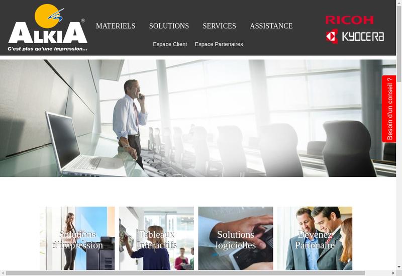 Capture d'écran du site de Alkia