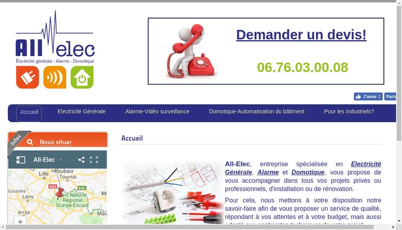 Capture d'écran du site de All Elec