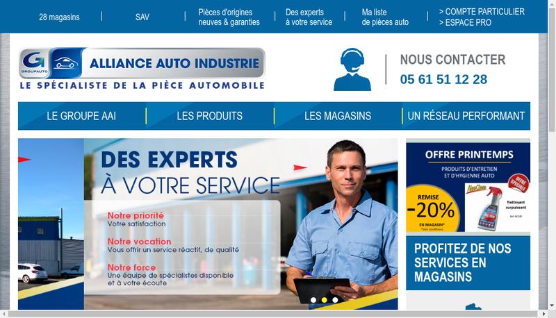 Capture d'écran du site de Alliance Auto Industrie