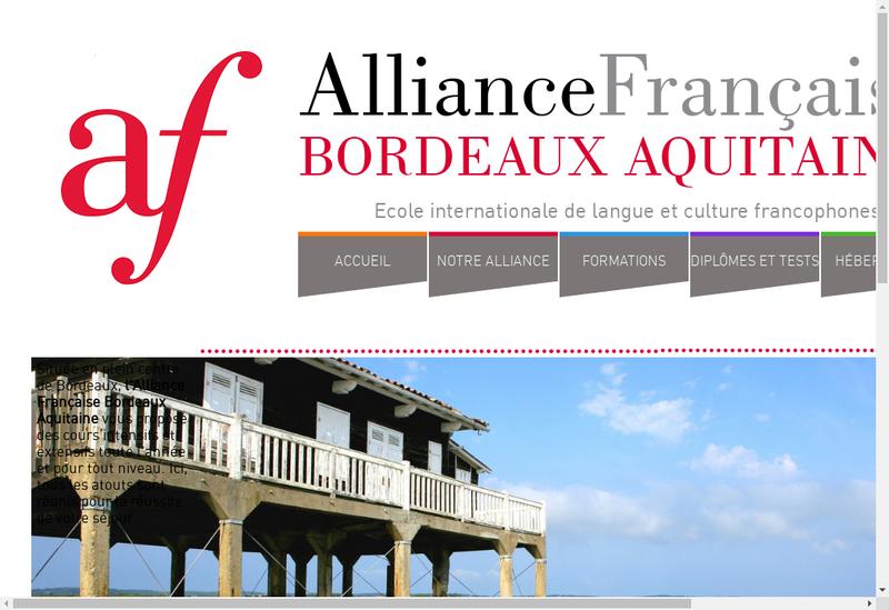 Capture d'écran du site de Alliance Francaise Bordeaux Aquitaine