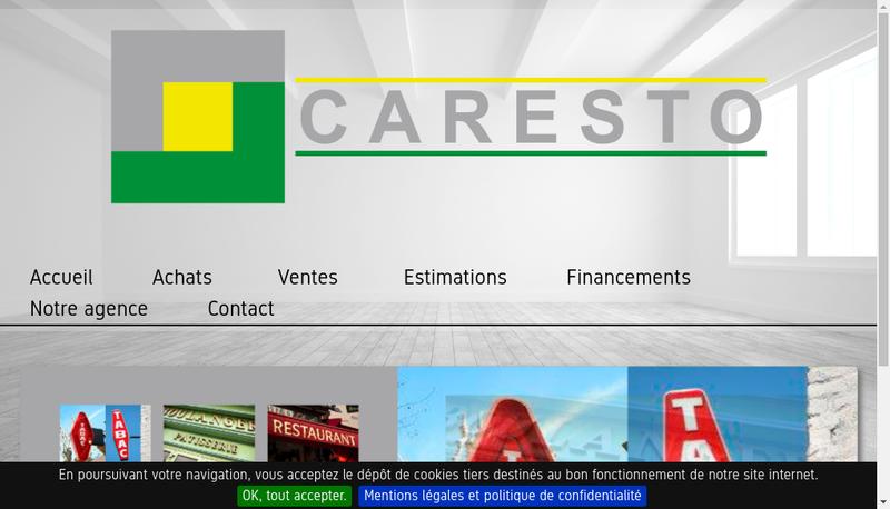 Capture d'écran du site de Caresto